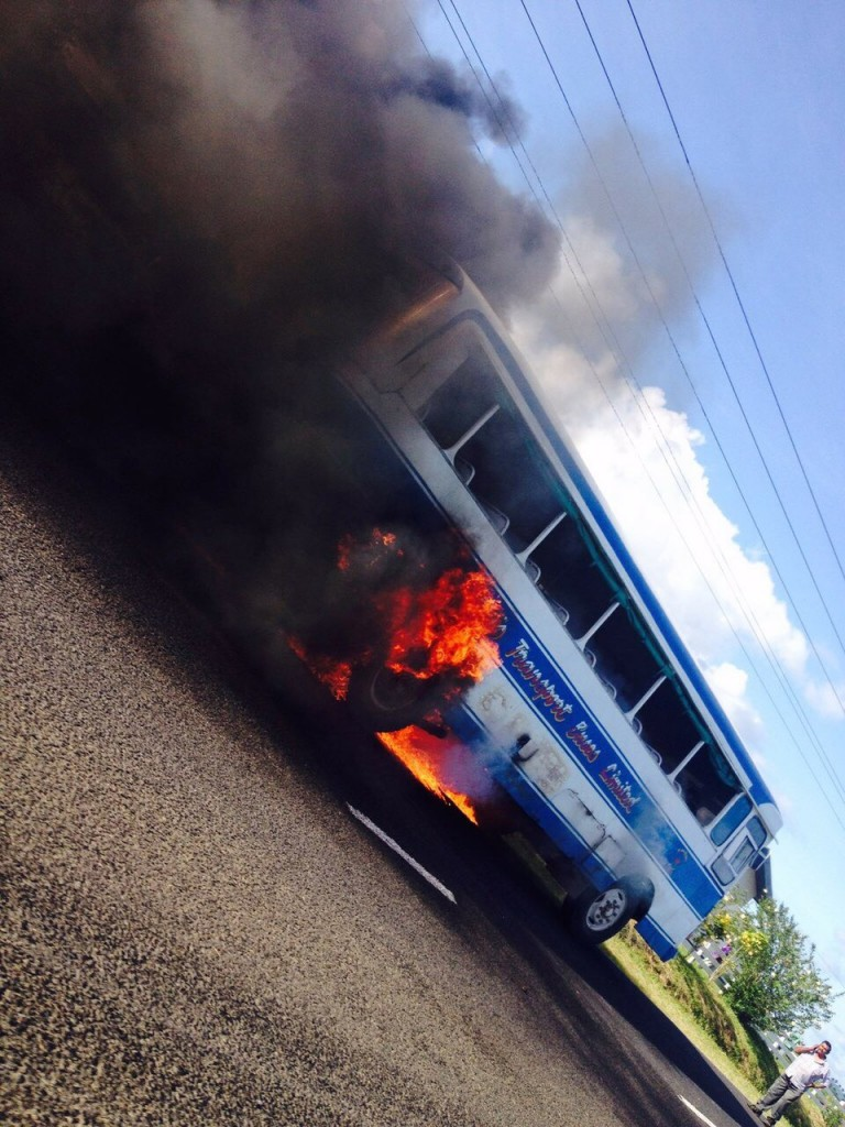 A Maharaj Transport Buses Limited bus caught on fire along the Queen's Road.