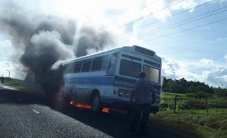 Blaze Engulfs Bus In Navua
