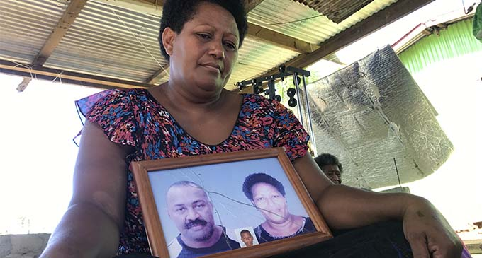 Naina Bilo, 42, with a photo of her and her late husband, Joeli Bilo at their home at Vusama Village in Nadroga on March 17, 2018. Photo: Arieta Vakasukawaqa