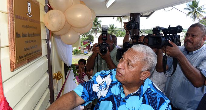 Prime MInister Voreqe Bainimarama while opening Nabua Rugby Resource Centre in Nabua Village on March 22, 2018. Photo: Ronald Kumar.