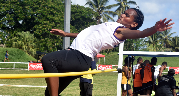 Laisa Bukalidi of Sigatoka Methodist College clears the bar with a record of 1.45 meters in the senior girls during the Nadroga Navosa Secondary Schools Zone meet on March 21, 2018.  Photo: Waisea Nasokia