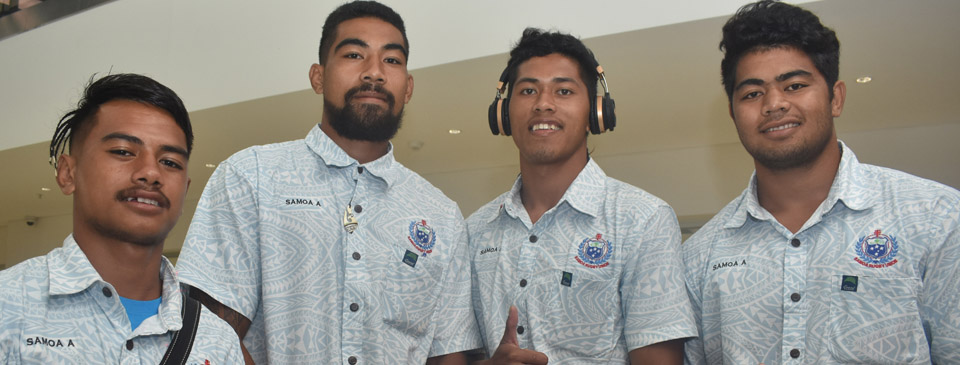 Members of the Samoa A rugby side, Pupi AhSee, Tino Ulugia, Jonny Vaili and Mikaele Tupili at the Nadi International Airport on March 6, 2018 . Photo: Waisea Nasokia