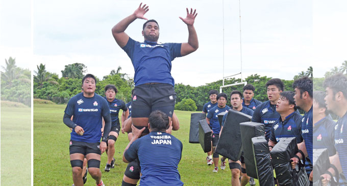 Tongan born Junior Japan loose man Faulua Makishi jumps in the lineout during their training run at Bidesi Park, Suva, on March 5, 2018. Photo: Simione Saravanua