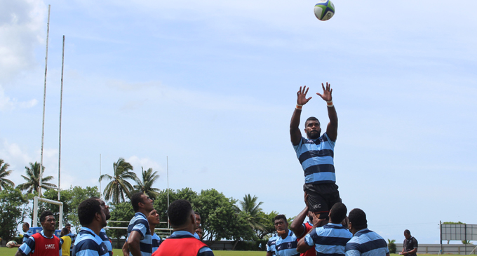 Fijian Warriors lock Tevita Ratuva takes a two handed catch in a lineout move during training at Buckhurst Park, Suva on March 11, 2018. Photo: Simione Haravanua
