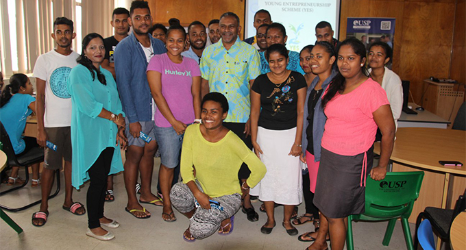 Youths with the Minitser for Industry, Trade, Toursim, Land and Mineral Resources Faiyaz Koya at the USP Labasa Campus conference room in Labasa on March 29, 2018.  Photo: DEPTFO News