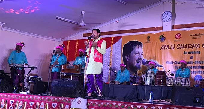 Aarug Group lead singer Anuj Sharma wowed the crowd with his folk music and dance show on March 16, 2018 at the Jai Narayan College in Suva.  Photo: Ashna Kumar
