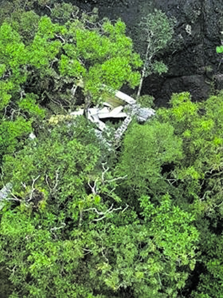 The Cessna 172 crash site in Vanua Levu, which has been confirmed by the Fiji Maritime Surveillance Rescue Co-ordination Centre.