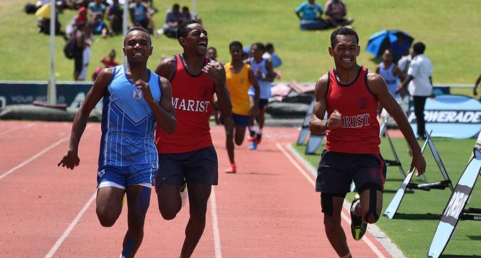 Beqa Yanuca sprinter Serupepeli Dakai (left) won the 800meters inter-boys final during Suva Zone 2 at ANZ Stadium on March 21, 2018.   Photo: Ronald Kumar
