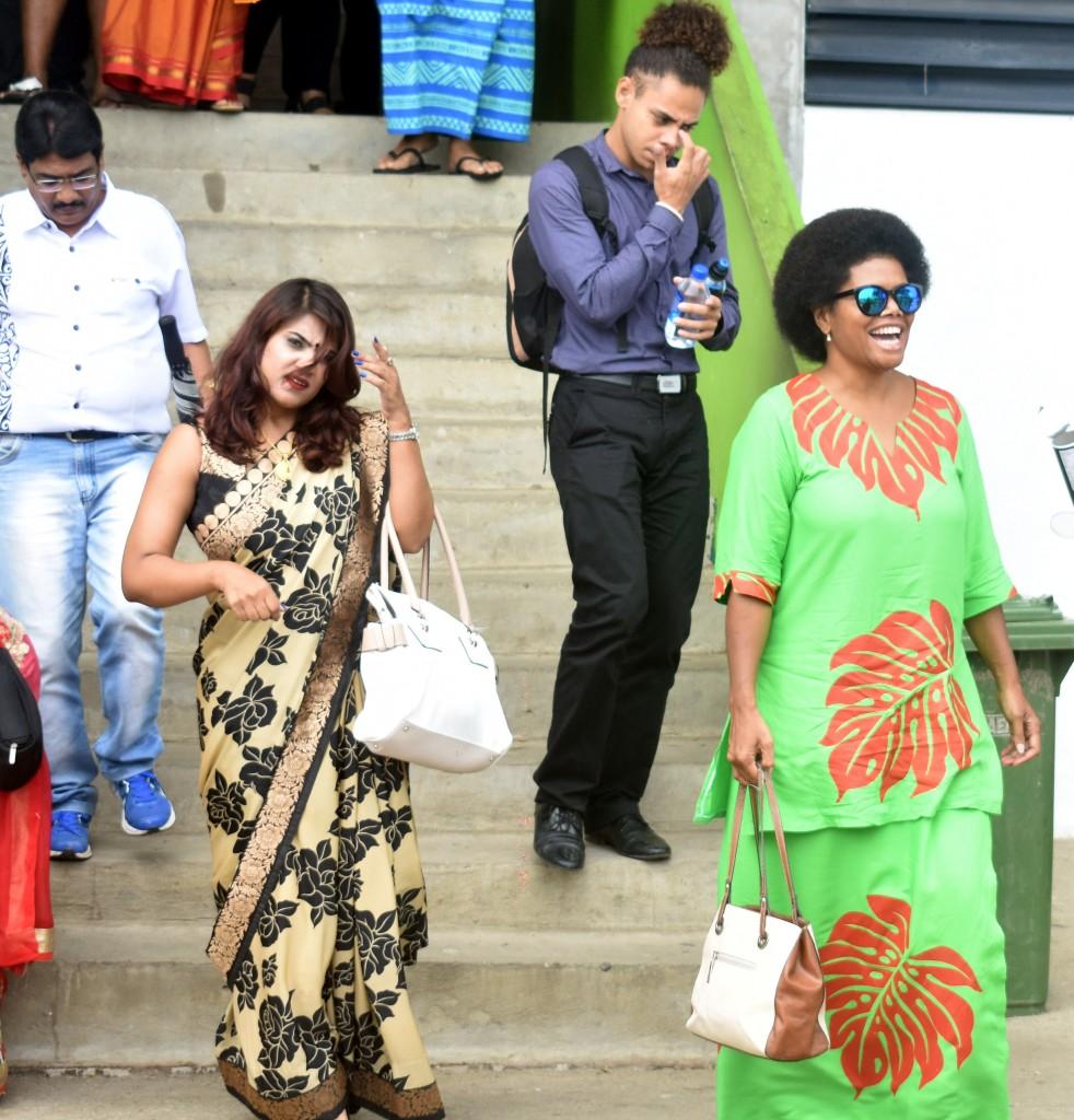 NFP's Riddhi Damodar and Lenora Qereqeretabua at the 91 st TISI Sangam Convention at the Lawaqa Park in Sigatoka yesterday. Photo: WAISEA NASOKIA