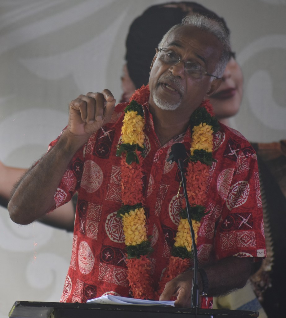 Chief guest Professor Vijay Naidu at the the 91 st TISI Sangam Convention opening at the Lawaqa park in Nadroga yesterday. Photo: WAISEA NASOKIA
