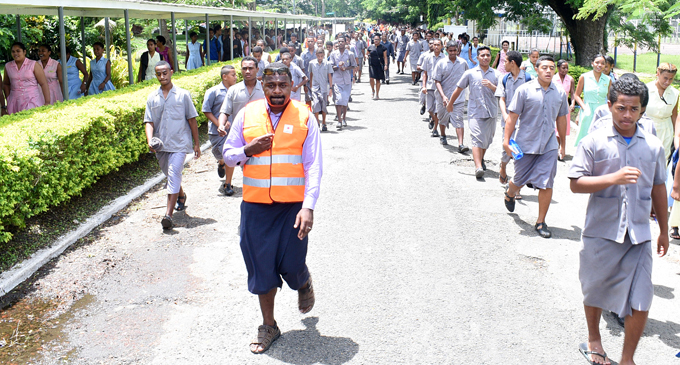 Suva Grammar School students and teachers during the tsunami drill conducted in Suva on March 1, 2018. Photo: Ronald Kumar
