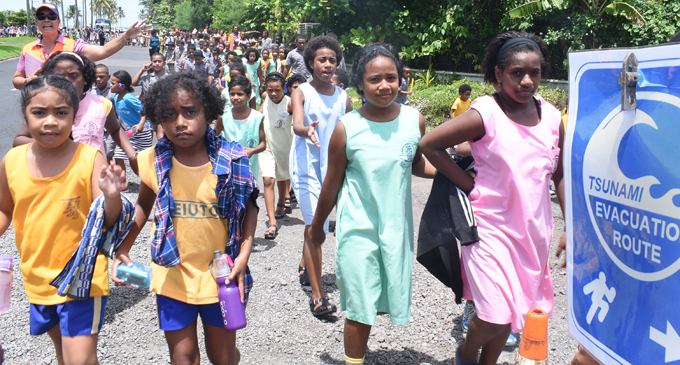 Veiuto Primary School students and teachers during the tsunami drill conducted in Suva on March 1, 2018. Photo: Ronald Kumar