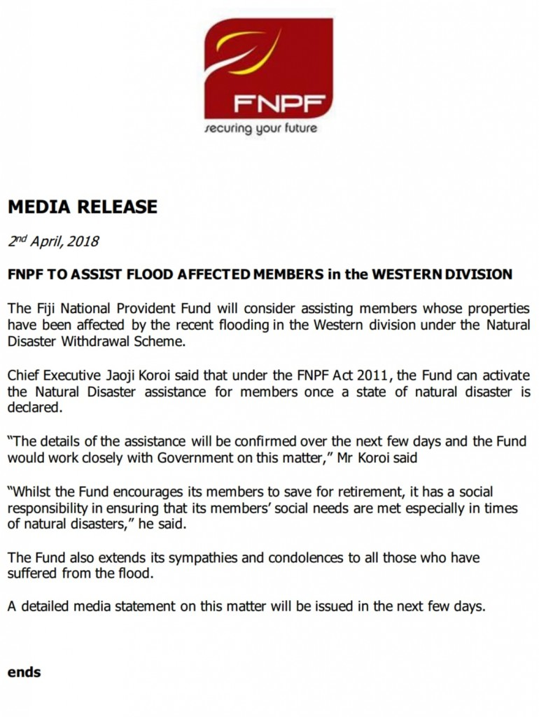 The statement released by the Fiji National Provident Fund last night.