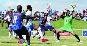 Lautoka football goal- keeper Beniamino Mateinaqara makes a save in their game against Marist at Churchill Park on April 22,2018. Photo: OFC