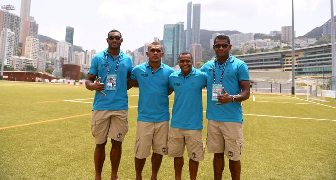 Fiji Airways Fijian 7s squad in Hong Kong on April 4, 2018. From left:  Mesulame Kunavula, Eroni Sau, Alasio Naduva and Apenisa  Cakaubalavu. Photo: Ian Muir