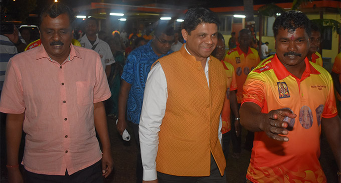 Minister for Local Government, Housing and Environment  Parveen Bala, Acting Prime Minister and Attorney-General, Aiyaz Sayed-Khaiyum and Nacovi Sangam Temple president Bal Krishna at the firewalking ceremony, Nacovi Sangam Temple, in Nadi on April 21, 2018.. Photos: Waisea Nasokia