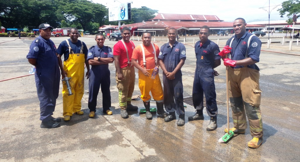 Ba based Fiji Firefighters Rescue Squad at Ba Bus Stand, yesterday. PICTURE_ PENI KOMAISAVAI1