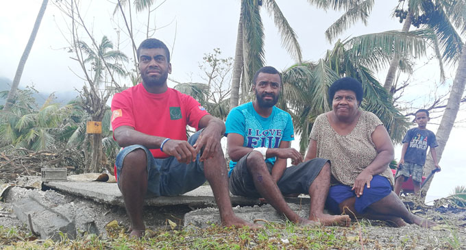 Ecelina Marama with her sons, Tomasi Ratuleyava and Sunia Uluiviti in Dagai Village in Kadavu on April 16, 2018. Photo: Arieta Vakasukawaqa