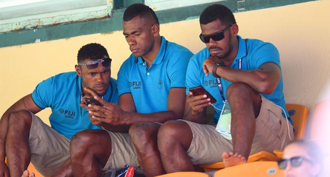 Fiji Airways Fijian 7s squad members take time out in Hong Kong on April 4, 2018. From left: Amenoni Nasilasila, Sevuloni Mocenacagi,Apenisa  Cakaubalavu. Photo: Ian Muir
