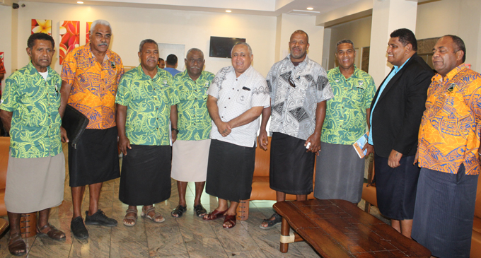 Fiji Rugby Union chairman Francis Kean (fifth from left), and FRU chief executive officer John O'Connor (second from right), with Tailevu and Northland rugby union officials after the FRU annual general meeting on April 28, 2018. Photo: Simione Haravanua