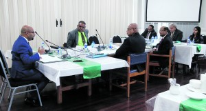 Fiji Human Rights Commission director Ashwin Raj (left), with the Parliamentary Standing Committee on Justice, Law and Human Rights in Parliament on April 13, 2018. Photo: Parliament of Fiji