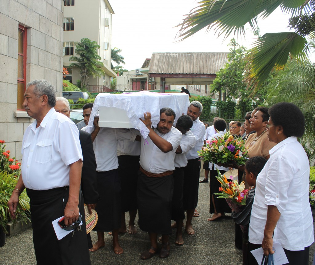 RKSOB Association members carrying the casket of the late Reverened Kalisiana Koroi to his funeral service at the Centenary Methodist church on April 5, 2018. Photo: Simione Haravanua.