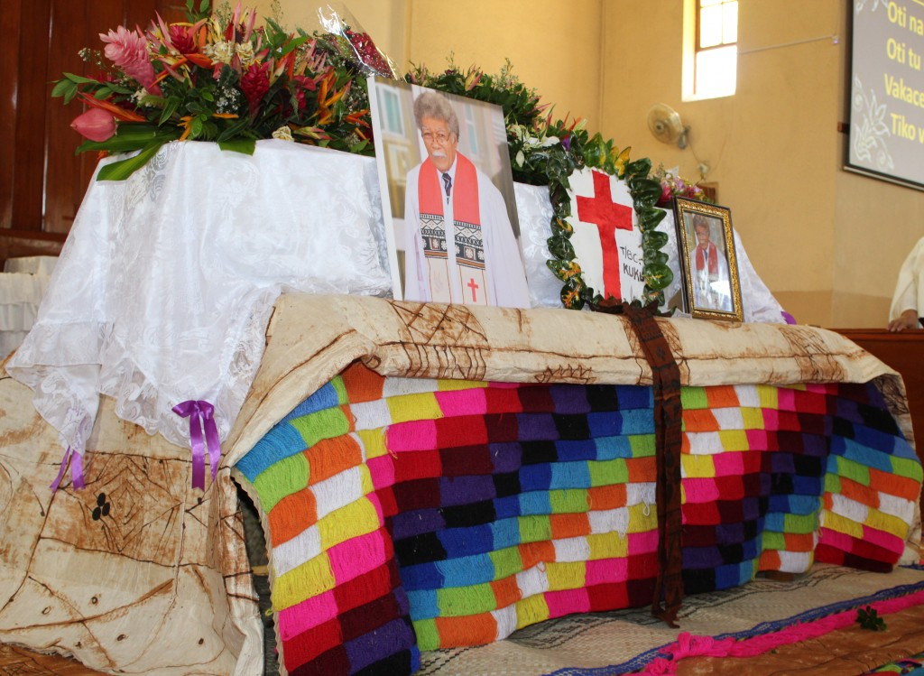 The casket of the late Reverened Kalisiana Koroi during his homecoming service at the Centenary Methodist church on April 5, 2018.Photo: Simione Haravanua.