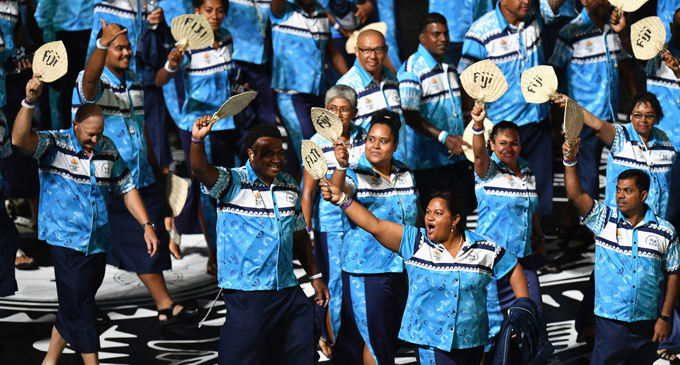 Team Fiji contingent during the Commonwealth Games opening ceremony in Gold Coast, Australia on April 4, 2018  Photo: Anasilini Ratuva