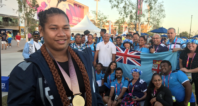Eileen Cikamatana with the Team Fiji contingent at the Games Village in Gold Coast, Australia on April 9, 2018. Photo: Anasilini Ratuva