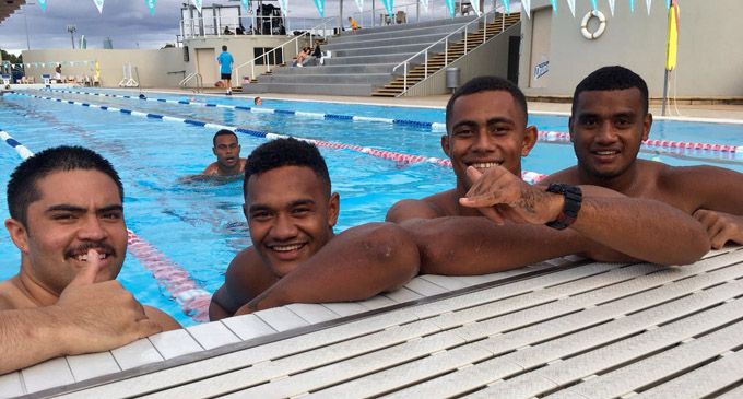 Members of the Fiji Airways U20 team at the Sports Super Centre in Gold Coast on April 24,2018. Photo: Oceania Rugby