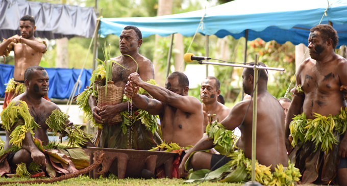 Prime Minister Voreqe Bainimarama is accorded the yaqona ceremony during the Tailevu Provincial Council meeting opening at Nauluvatu Village in Nakelo, Tailevu on April 26, 2018. Photo: Ronald Kumar