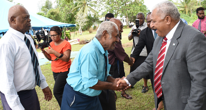 Prime Minister Voreqe Bainimarama meeting with people during the opening of the Tailevu Provincial Council meeting at Nakelo in Tailevu  on April 26, 2018. Photo: Ronald Kumar