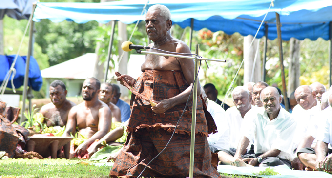 Navitalai Naivalu of Naimalavau, presents the tabua in the qaloqalovi ceremony during the traditional welcome for Prime Minister Voreqe Bainimarama at the opening of the Tailevu Provincial Council meeting on April 26, 2018. Photo: Ronald Kumar