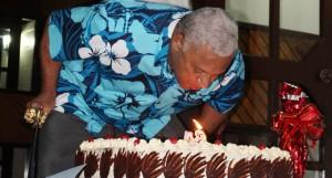 Prime Minister Voreqe Bainimarama blows his birthday candle on April 27,2018. Photo: Simione Haravanua