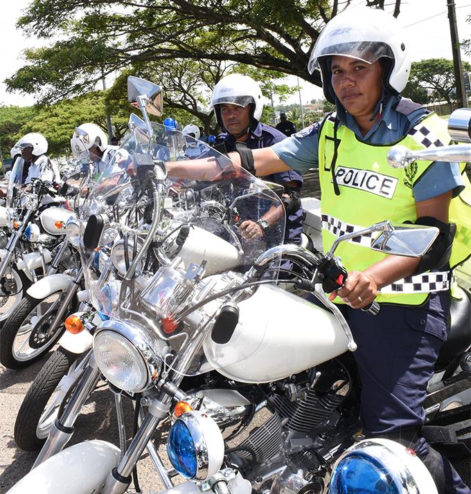Contable. Sera Adi of Namaka Police Station during Fiji Police motorcyclists training with Yamaha safety riding Chief instructor Hidenobu Toh in Suva on April 13, 2018. Photo: Ronald Kumar.