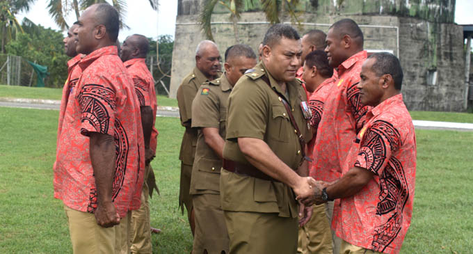 Republic of the Fiji Military Forces Director Peacekeeping Operations and Advisor to the Commander, Liuetenant Colonal Pacolo Luveni farewells military personnel at Delta Coy in Nadi before they fly out for Sinai on 26 April 2018.PHOTO: ARIETA VAKASUKAWAQA