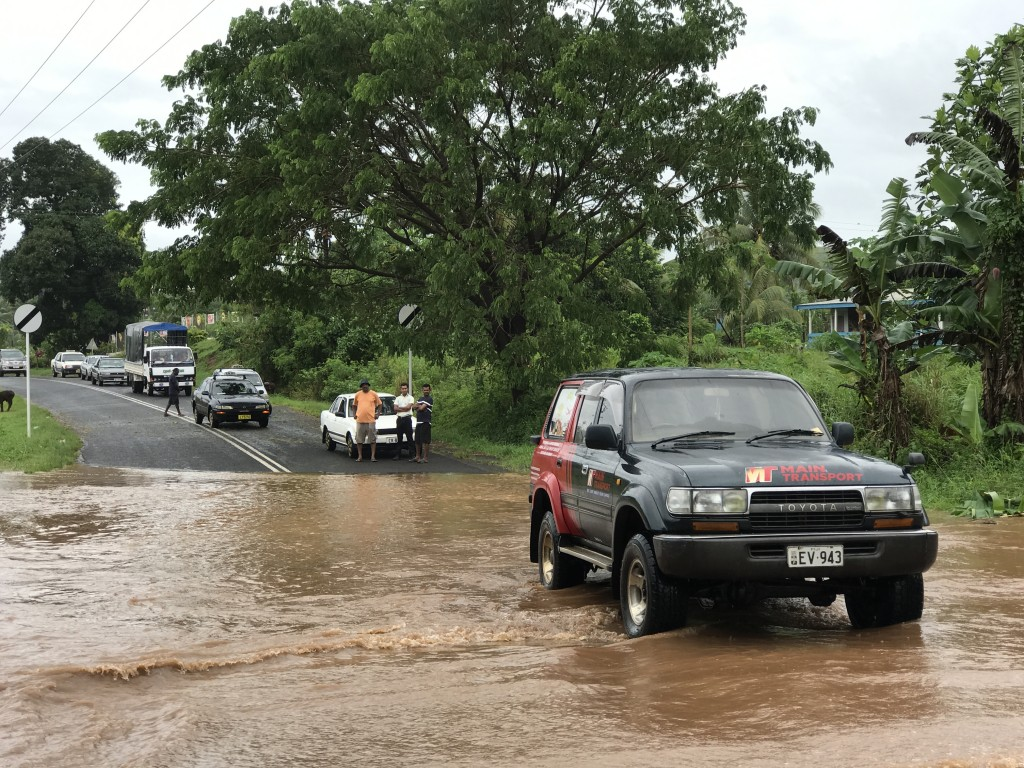 Road to Waiqele Airport in Labasa flooded on April 10. Photo Shratika Naidu.