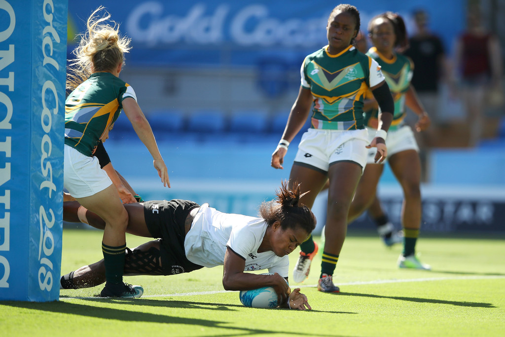 Team Fiji women's rugby prop Priscilia Siata scores a try against South Africa at the Robina Stadium in Gold Coast, Australia on April 15, 2018. Photo: Anasilini Ratuva