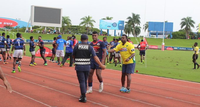 Fight spread on the sideline at the ANZ Stadium, Suva on April 7, 2018.  Photo: Simione Haravanua.