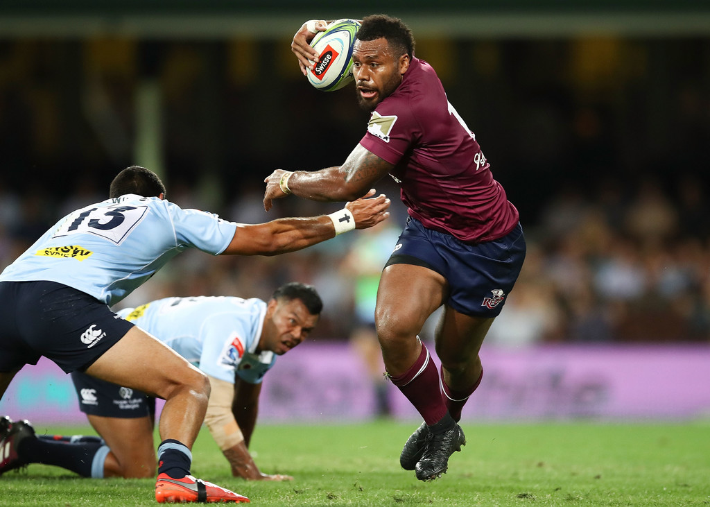Reds centre Samu Kerevi evades the Waratahs defenders at the Sydney Cricket Ground on April 14, 2018. Photo: Zimbio.