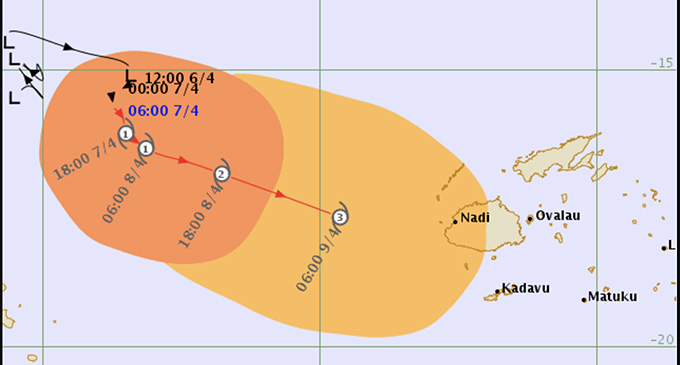 Note: the past cyclone track may be adjusted on the basis of later information. The forecast track is considered the most likely based on the information available at time of analysis. There may be other possible future tracks.   Photo: Fiji Meteorological Service