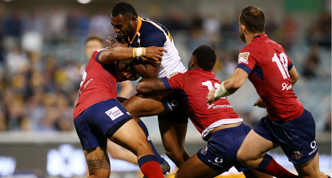 Brumbies centre Tevita Kuridrani takes on the Reds at the GIO Stadium in Canberra on April 7, 2018. Photo:  Zimbio