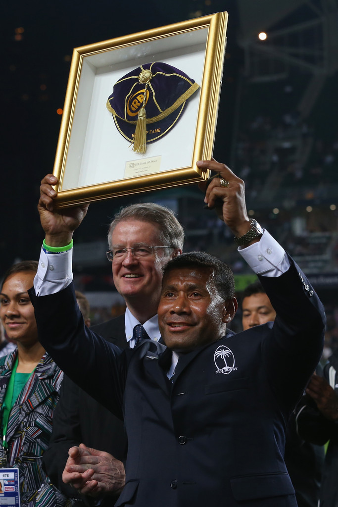Sevens maestro Waisale Serevi holds up his framed cap presented to him after being inducted into the IRB Hall of Fame at the Hong Kong Sevens at Hong Kong Stadium in So Kon Po on March 23, 2013. Photo: Zimbio