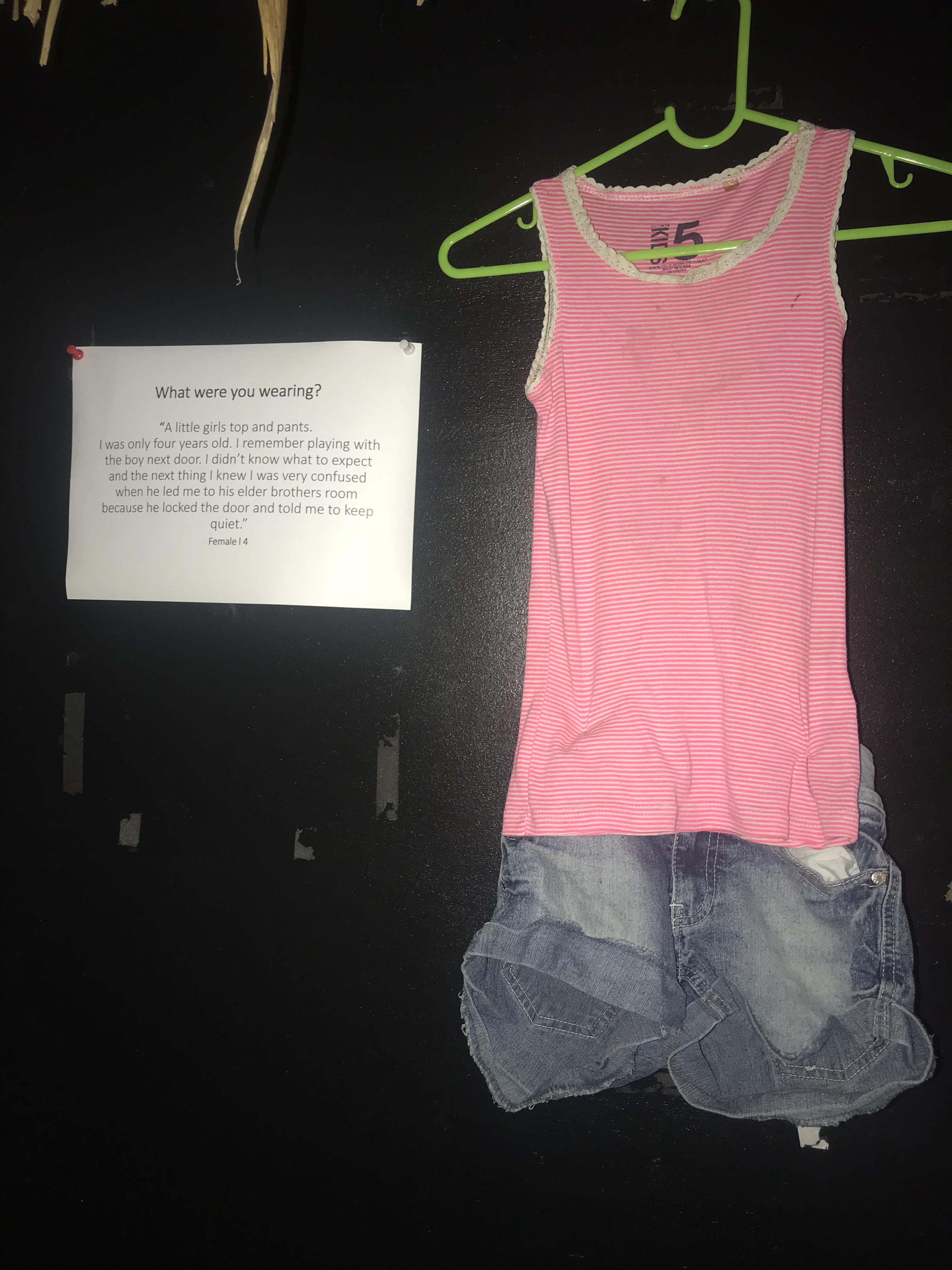 Clothing worn by rape victims on display at the Fiji Museum.