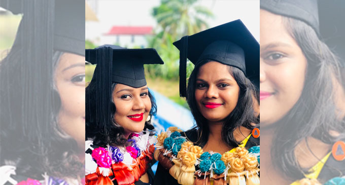 From left: Shiva Sital Devi and Shiwagani Mudialar after graduating from the Sangam College of Nursing on April 18, 2018