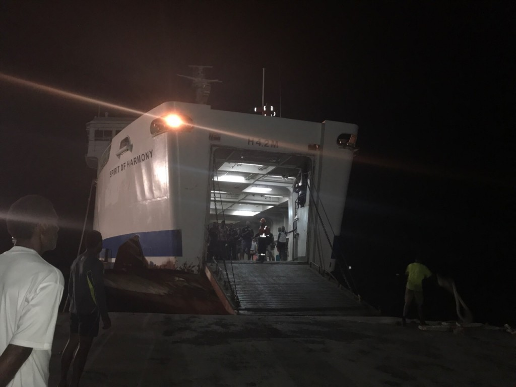 The MV Spirit of Harmony arrives at the Natovi jetty. Photo: Losirene Lacanivalu