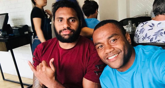 Fiji Airways Fijian 7s players Semi Kunatani and Alasio Naduva. Photo: Alasio Naduva