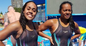 From left; Cheyenne Rova and Matelita Buadromo after their race at Optus Aquatic Centre.  Photo: Anasilini Ratuva
