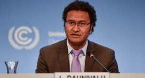COP 23 Chief Negotiator Ambassador Luke Daunivalu delivers his remarks at the 'Talanoa Dialogue For Climate Ambition