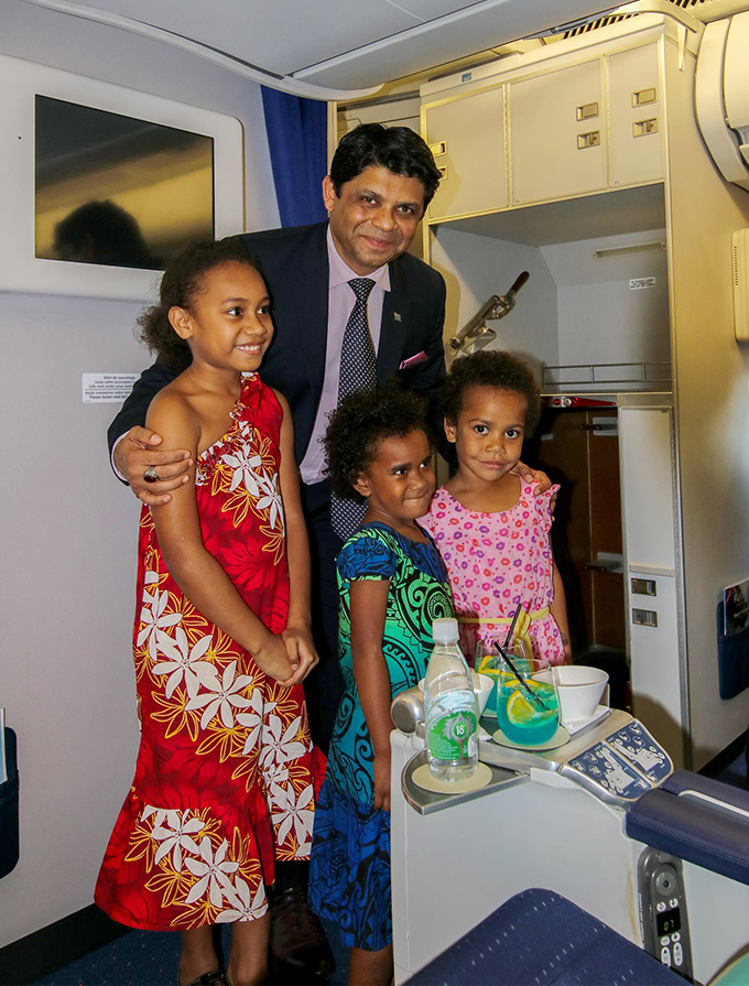 Rosalia, Seruwaia and Esther with Acting Prime Minister and Attorney-General Aiyaz Sayed-Khaiyum inside the Fiji Airways Island of Beqa plane at the Nadi International Airport on May 11, 2018. Photo: DEPTFO News